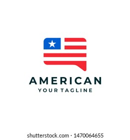 American flag bubble chat logo and icon design vector.