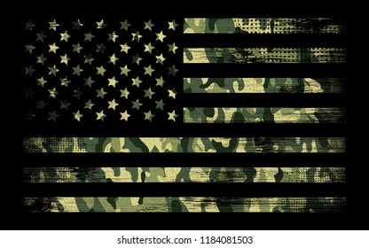 American Flag With Camouflage, Grunge Style, fit for t-shirt, banner, poster, sticker, or any fit
