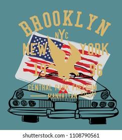 American Flag and car vector art