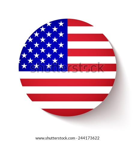 21680308d8b7 American Flag Circle Button Soft Shadow Stock Vector (Royalty Free ...