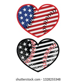 American flag in a color and monochrome heart shaped baseball ball. Baseball love. Vector illustration