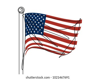 American Flag Continuous Line Vector