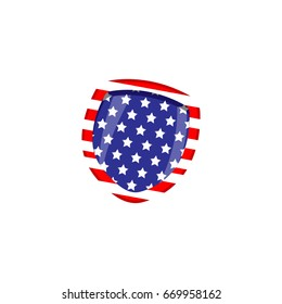 The American flag is depicted on the shield. Patriotic icon. Security logo vector illustration.