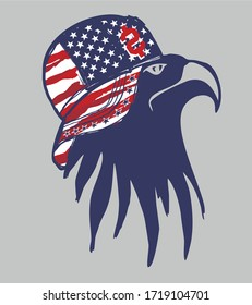 American flag and eagle print embroidery graphic design vector art