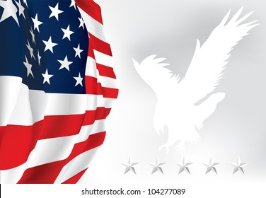 American flag Eagle Stars Vector