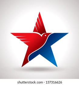 American flag and eagle symbol vector