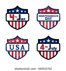 American flag elements set, symbol 4th of July, Independence Day celebration. Patriotic Typography Graphics. Shields design. Fashion Print sportswear apparel, t shirt, card, banner Vector illustration