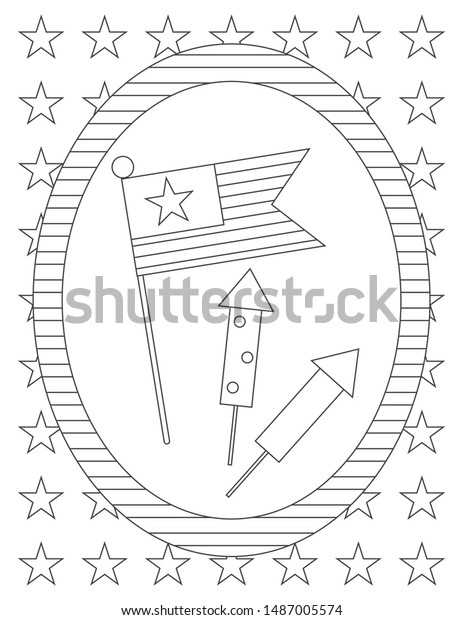 American Flag Firecrackers Isolated Oval Frame Stock Vector Royalty Free 1487005574