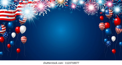 American flag with fireworks and balloon with copy space banner USA 4th of july independence day vector illustration