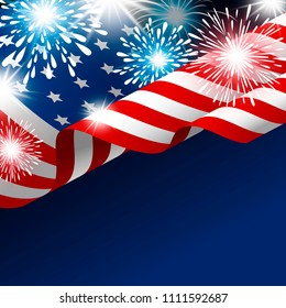 American flag with fireworks vector illustration