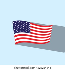 american flag flat icon  vector illustration eps10