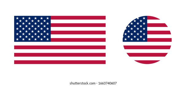 American flag flat vector logo icon. Simple vector button flag of the United States of America. USA flag.