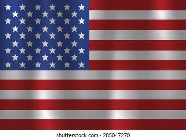 American Flag Flowing, waving, satin