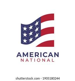 American Flag Flutter Square Logo Design Vector