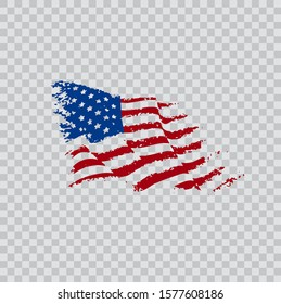 american flag in grunge style vector illustration on a transparent background