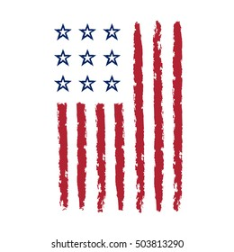 American flag grunge, symbol for 4th July, Independence Day celebration. Patriotic Typography Graphics. National design. Fashion Print for sportswear apparel, t shirt, card, banner Vector illustration