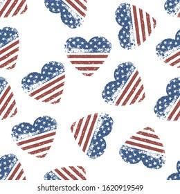 American flag grunge symbol on white background. Seamless vector illustration.