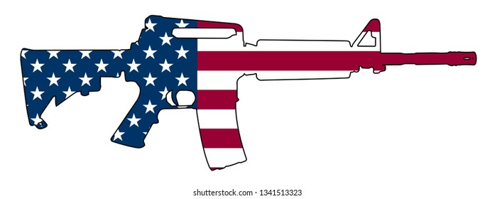 American Flag Gun Semi Automatic Rifle Isolated Vector Illustration