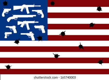 American flag with guns and bullet holes