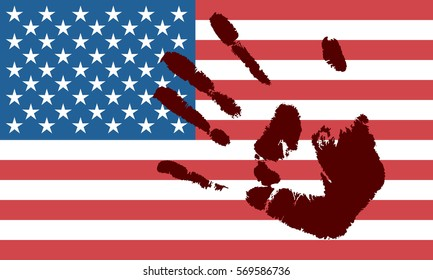 American flag with hand print.