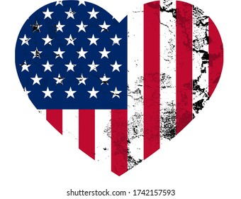 American flag in heart shape with grunge texture