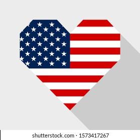 American flag heart shape icon