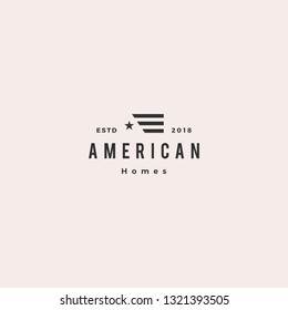 american flag house home mortgage logo hipster retro vintage vector icon