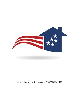 American Flag house logo. Vector graphic design