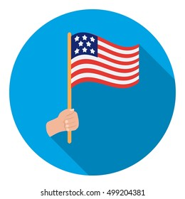 American flag icon in flat style isolated on white background. Patriot day symbol stock vector illustration.