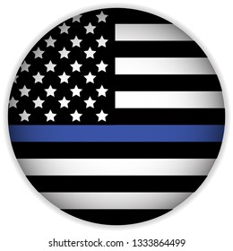 An American flag icon law enforcement support flag. Vector EPS 10.