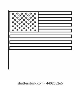 American flag icon, outline style