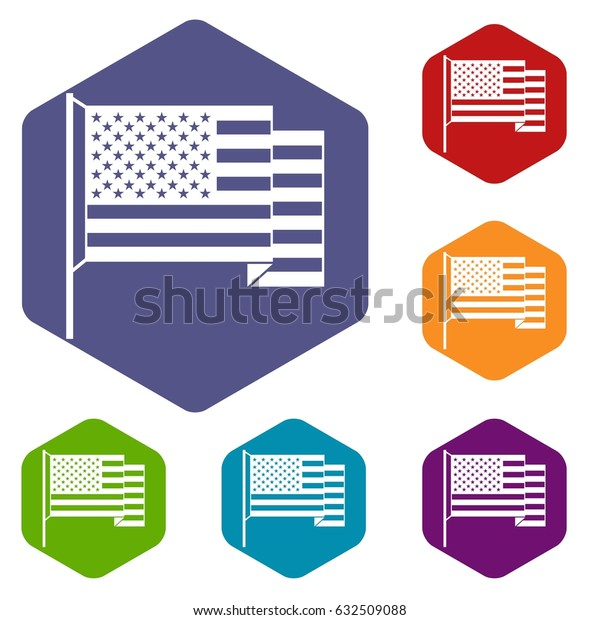 American flag icons set hexagon isolated vector illustration