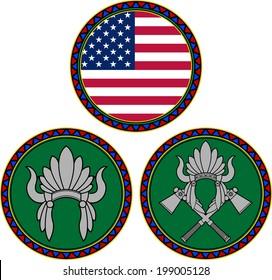 american flag and indian headdress. vector illustration