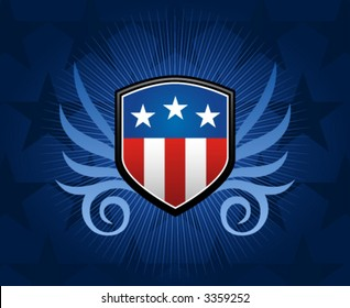 American flag inlay on shield emblem with gradient background