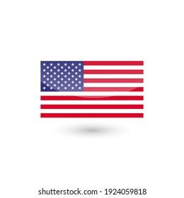 American flag label sticker badge United States of America vector illustration.