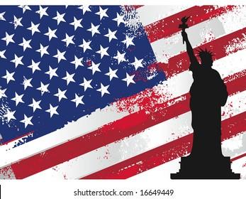 american flag and liberty