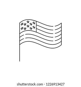 American flag line icon, USA flag. United States flag icon. Line art design, Vector flat illustration