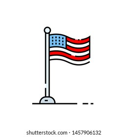 American flag line icon. USA symbol. United States of America sign. Vector illustration.