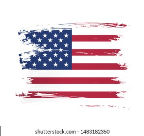 American flag made in a brush stroke background. Vector Illustration