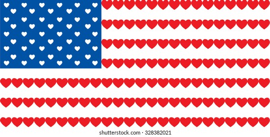 American flag made from hearts. Vector illustration
