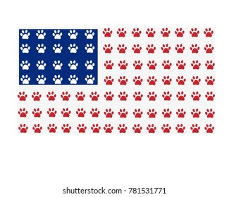 American flag made of paw prints