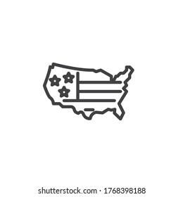 American flag map line icon. linear style sign for mobile concept and web design. Map of United States with flag outline vector icon. Symbol, logo illustration. Vector graphics