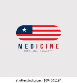 american flag medicine logo vector illustration design. US medicine industry symbol