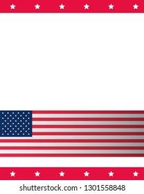 american flag national stars border background