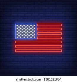 American flag neon sign. USA, country, stars and stripes, national emblem. Vector illustration in neon style for festive independence day banners, light billboards, 4th of July