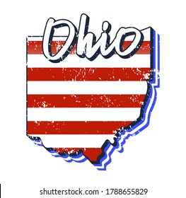 American flag in ohio state map. Vector grunge style with Typography hand drawn lettering ohio on map shaped old grunge vintage American national flag isolated on white background