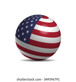 American flag on a 3d ball, vector illustration