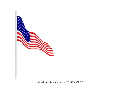 American flag on flagpole with empty space for a text