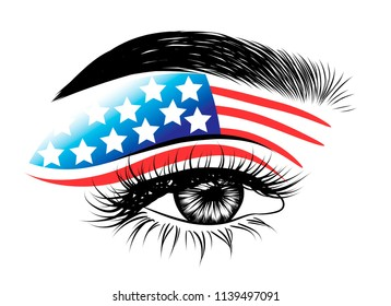 American flag on gorgeous eye. Perfect fashion illustration for business card, template, web. Shaped eyebrows and natural eyelashes. Creative symbol.