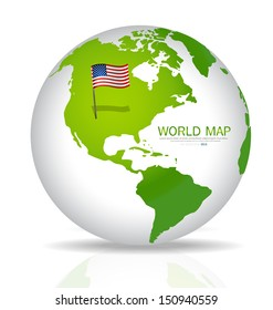 American Flag on the map. Vector illustration.